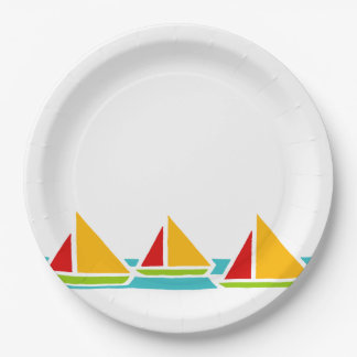 Three Sail Boats in Bright Colors Paper Plate