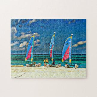 Three Sailboats on the Beach Tropical Beach Scene Puzzles