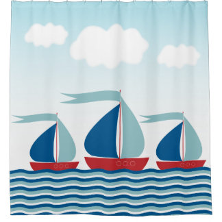 Three Sailboats on Water Waves, Nautical Shower Curtain