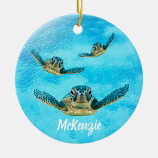 Three Sea Turtles Swimming Ceramic Ornament