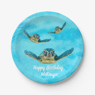 Three Sea Turtles Swimming Paper Plate