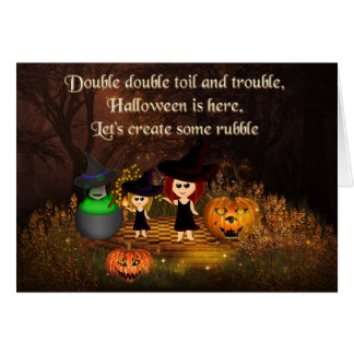 Three Shakespeare witches Halloween card