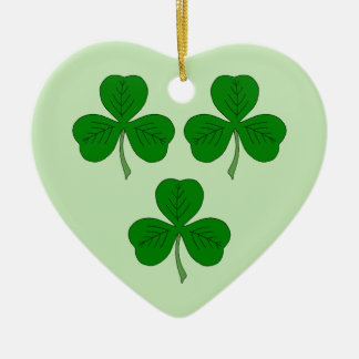 Three Shamrocks Ceramic Ornament