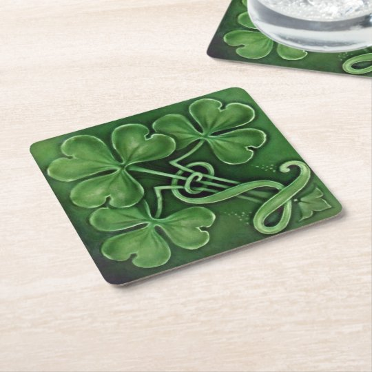 Three Shamrocks Square Paper Coaster