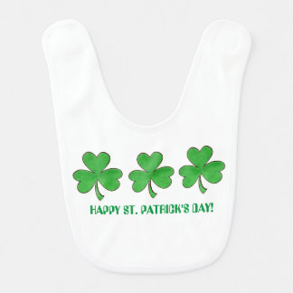 Three Shamrocks St. Patrick's Day Green Clovers Bib