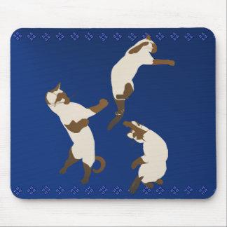 Three Siamese Cats At Play Mousepad
