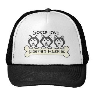 Three Siberian Huskies Cap