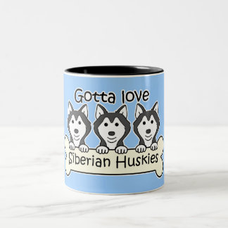 Three Siberian Huskies Coffee Mug