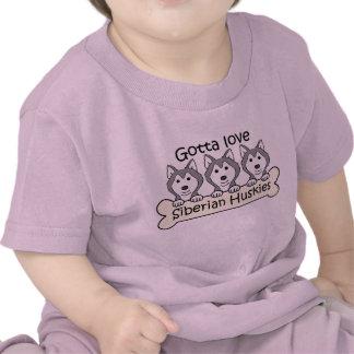 Three Siberian Huskies Tee Shirts