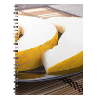 Three slices of juicy yellow melon spiral note book