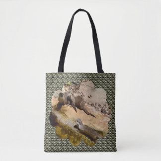 Three Small Otters On Rocks, Tote Bag