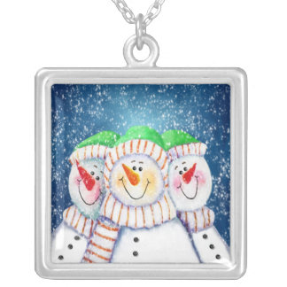 Three Smiling Snowmen Necklace