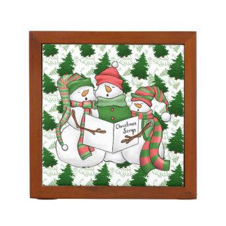Three Snowman Carolers Desk Organiser