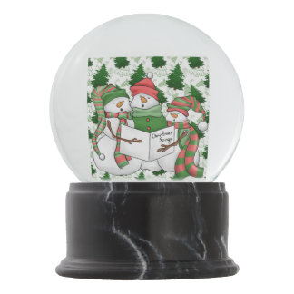 Three Snowman Carolers Snow Globe