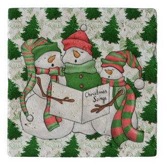 Three Snowman Carolers Trivet