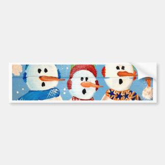 Three Snowmen Bumper Sticker