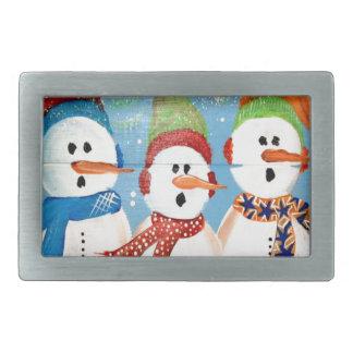 Three Snowmen Rectangular Belt Buckle