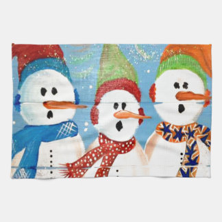 Three Snowmen Tea Towel