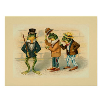 """Three Sociable Frogs"" Poster"
