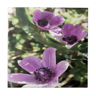 Three Spring Anemone Flowers Small Square Tile