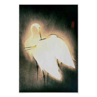 Three Storks Japanese Woodblock Art Ukiyo-E Poster