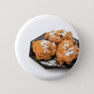 Three sugared fried fritters or oliebollen 6 cm round badge