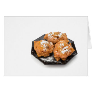 Three sugared fried fritters or oliebollen card