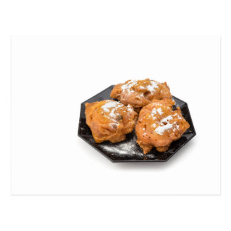Three sugared fried fritters or oliebollen postcard
