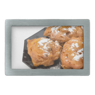 Three sugared fried fritters or oliebollen rectangular belt buckle