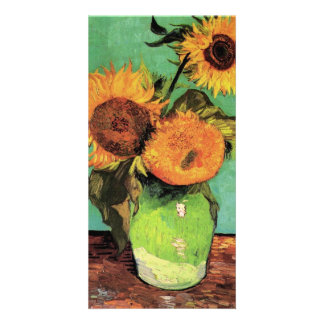 Three Sunflowers in a Vase by Vincent van Gogh Personalised Photo Card