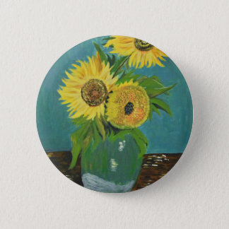 Three Sunflowers in a Vase, van Gogh 6 Cm Round Badge