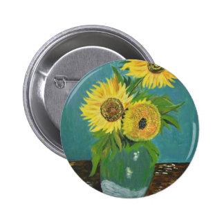 Three Sunflowers in a Vase, van Gogh 6 Cm Round Badge