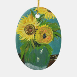 Three Sunflowers in a Vase, van Gogh Ceramic Ornament