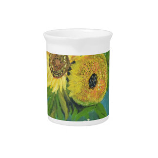 Three Sunflowers in a Vase, van Gogh Drink Pitchers