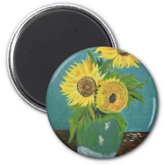 Three Sunflowers in a Vase, van Gogh Magnet