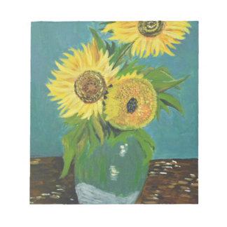 Three Sunflowers in a Vase, van Gogh Notepad