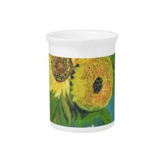 Three Sunflowers in a Vase, van Gogh Pitcher