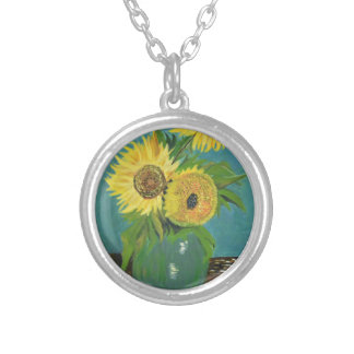 Three Sunflowers in a Vase, van Gogh Silver Plated Necklace