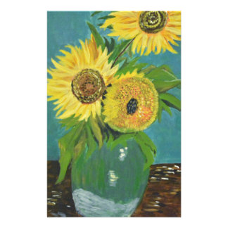 Three Sunflowers in a Vase, van Gogh Stationery