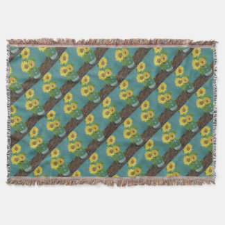Three Sunflowers in a Vase, van Gogh Throw Blanket