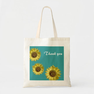 Three sunflowers in teal background thank you budget tote bag