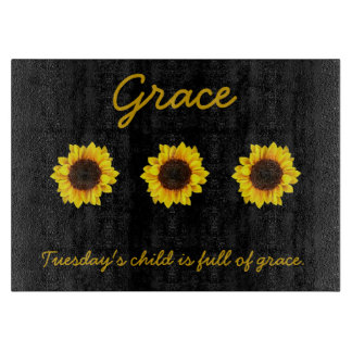 Three Sunny Sunflowers for Grace Cutting Board