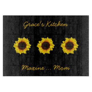 Three Sunny Sunflowers for Grace's Kitchen Cutting Board