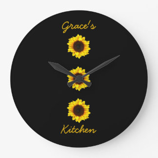 Three Sunny Sunflowers for Grace's Kitchen I Wall Clock