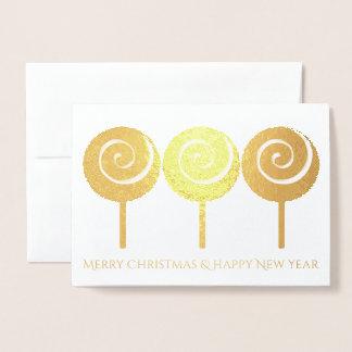 Three Swirled Lollipops Christmas Greeting Card