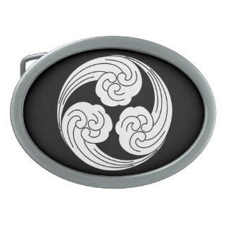 Three swirled waves belt buckles