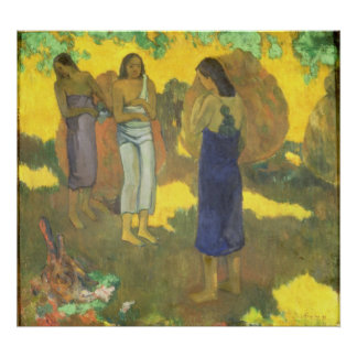 Three Tahitian Women against a Yellow Poster