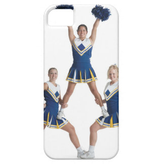 three teenage caucasian female cheerleaders in iPhone 5 case