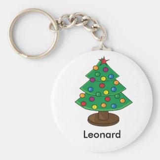 Three Tier Christmas Tree Basic Round Button Key Ring