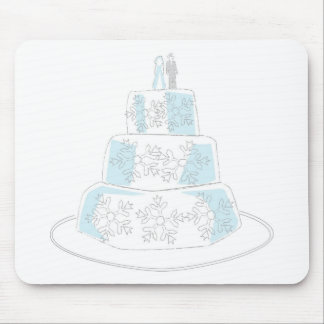 Three Tiered Wedding Cake with Snowflake Trim Mouse Pad